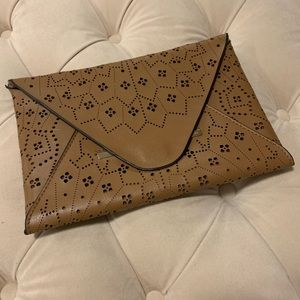Tan Printed BCBG Clutch